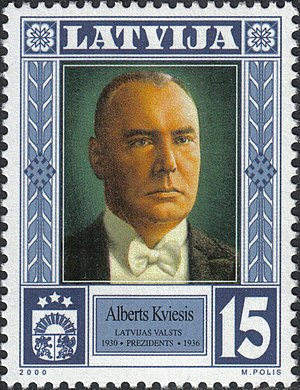 Alberts Kviesis - Image: Alberts Kviesis 2000 stamp of Latvia
