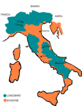 "A map of Italy divided in orange and green colors, with a green blot for ""Longobard"" an orange one for ""Byzantine"""
