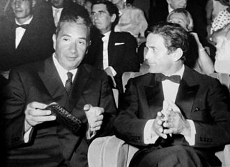 Venice Film Festival - The Italian Prime Minister Aldo Moro and Pier Paolo Pasolini together in Venice at the premiere of the movie The Gospel According to St. Matthew in 1964.