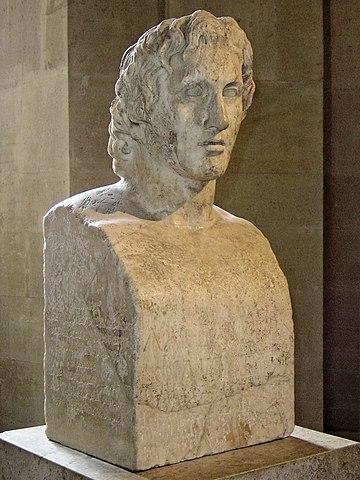 Римская копия с работы Лисиппа (музей Лувра). Одна из наиболее достоверных работ по внешности Александра. Единственное сохранившееся изображение великого полководца, сделанное с натуры