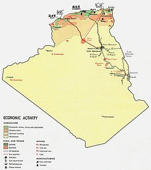 English: Thematic Maps of Algeria' economic ac...