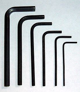 Hex key Hand tool for certain types of screws