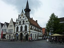 Am Markt. Rathaus in Burgsteinfurt., near to Steinfurt, Deutschland (Zone 32). This image shows a heritage building in Germany, located in the N...