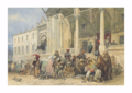 Amadeo Preziosi A market in front of the New Mosque 1879.png