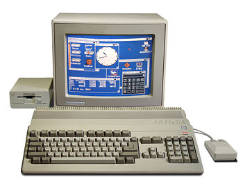 An Amiga 500 computer system, with 1084S RGB monitor and A1010 floppy disk drive.