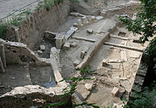 Overview of an open-air excavation site with visible Roman ruins