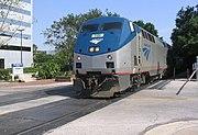 Amtrak train in downtown Orlando, Florida.