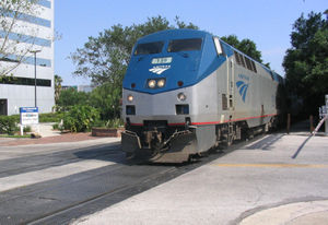 Amtrak train in downtown Orlando, Florida.