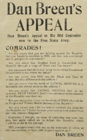 Irish Civil War - Dan Breen's appeal to free state troops