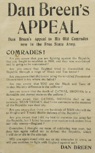 Irish Civil War - Dan Breen's appeal to free state troops