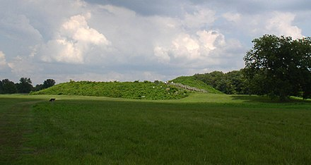 Angel Mounds State Historic Site was one of the northernmost Mississippian culture settlements, occupied from 1100 CE to 1450 CE. Angel mound with turret HRoe 2008.jpg