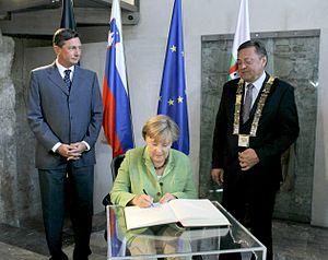Zoran Janković (politician) - Borut Pahor, Angela Merkel and Janković in Ljubljana Town Hall