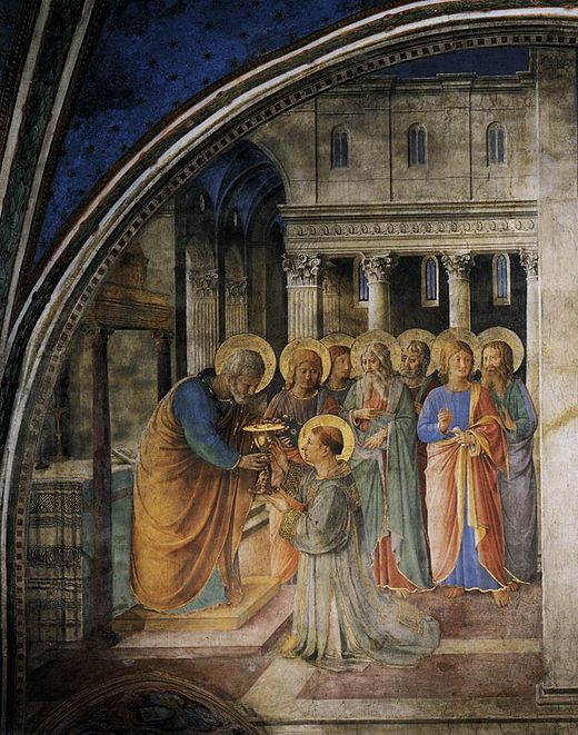 Section of a fresco in the Niccoline Chapel by Fra Angelico, depicting Saint Peter consecrating the Seven Deacons. Saint Stephen is shown kneeling. Angelico, niccolina 17.jpg