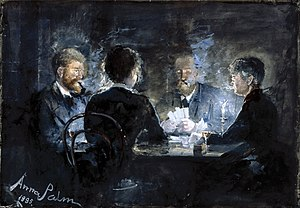 Ombre - A Game of L'hombre in Brøndum's Hotel by Swedish artist Anna Palm de Rosa, circa 1885
