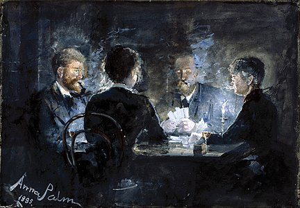 A game of L'hombre in Brøndum's Hotel by Swedish artist Anna Palm de Rosa