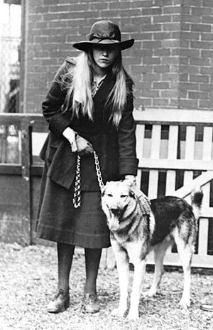 """Anna Roosevelt Halsted - Anna Roosevelt with her dog """"Chief""""."""