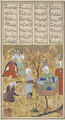 Illustration to the Shahnameh: a king enthroned in alandscape