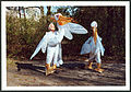 Anprobe Pelikan-Kostüm, Hans-Ulrich Buchwald, Leiter Scharniertheater Hannover, vor der Brüder-Grimm-Schule, Foto von Ralf-Peter Post.jpg
