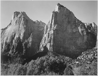 Zion National Park - Court of the Patriarchs, by Ansel Adams (1933)