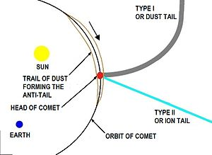 Antitail - Showing how a comet may appear to exhibit a short tail pointing in the opposite direction to its type II or dust tail as viewed from Earth i.e. an antitail