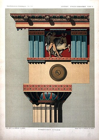 Polychrome - Reconstructed color scheme of the entablature on a Doric temple.