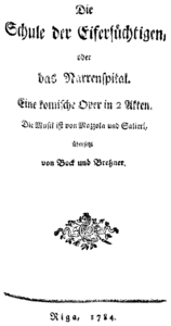 Title page of the libretto of the German version, Riga 1784