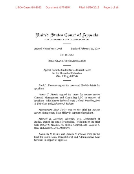 File:Appeal from the United States District Court for the District of Columbia No. 1-18-gj-00034.pdf