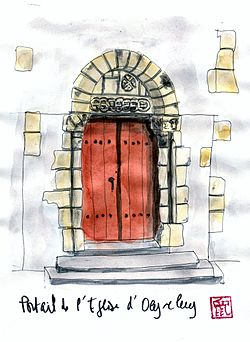 Aquarelle du portail de l'église d'Oeyreluy.jpg