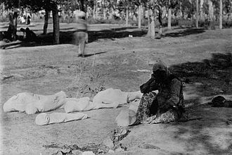 Caucasus Campaign - An Armenian mother beside the corpses of her five children