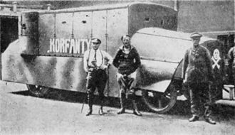 Silesian Uprisings - Polish armored car Korfanty in 1920 made by Polish fighters in Woźniak foundry. It was one of the two created, the second was named Walerus – Woźniak.