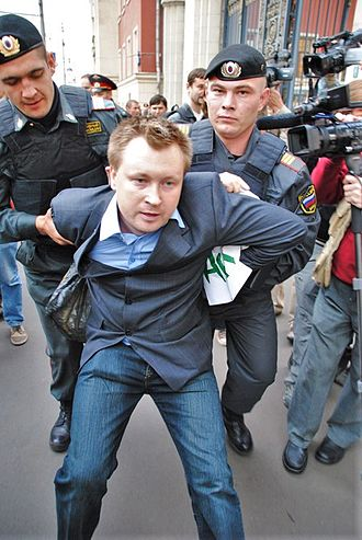 Nikolay Alexeyev - Nikolay Alexeyev being arrested at Moscow City Hall while protesting against Mayor Yuri Luzhkov on 21 September 2010, one week before his dismissal