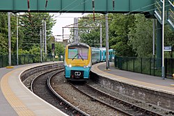 Arriva Trains Wales Class 175, 175114, platform 5, Earlestown railway station (geograph 4512032).jpg