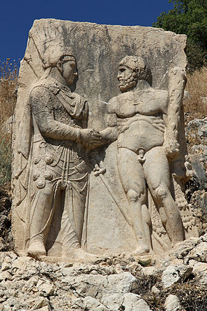 Dexiosis - A relief of a Dexiosis between Arsameia, Mithridates or Antiochus I, with Hercules