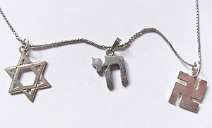 Jewish Buddhist - Star of David, Chai and Sauwastika pendants