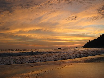 Manuel Antonio National Park is well known for its four beaches combined with sights of natural beauty, Quepos Puntarenas. Atardecer en Manuel Antonio.jpg