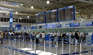 English: The Check-in desks at Athens Internat...