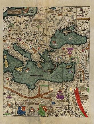 Catalan Atlas - A part of the Catalan Atlas depicting the eastern Mediterranean region.