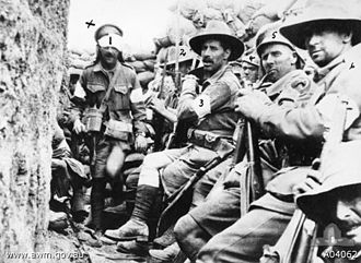 1st Battalion (Australia) - 5 members of 1st Battalion waiting to be relieved by troops of 7th Battalion at Gallipoli, August 1915