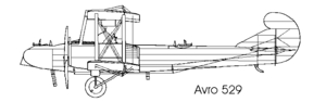 Avro 529 - Avro 529A, showing low set nacelles of the BHP engines