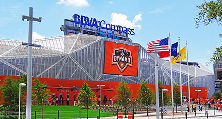 BBVA Stadium is the current home of the Houston Dash and Dynamo. BBVA Compass Stadium, North Facade.JPG