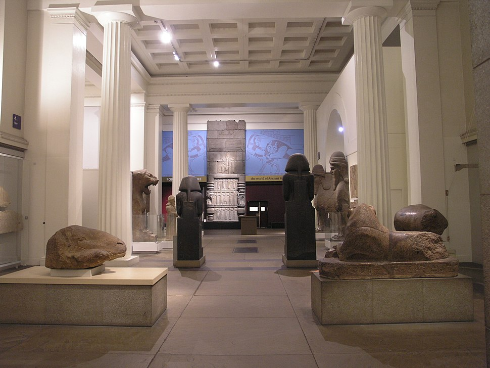BM, AES Egyptian Sculpture (Room 4), View South + Towards Assyrian Sculpture Gallery (Room 6)
