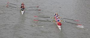 University rowing (UK) -  Crews can get very close to each other when overtaking at BUCS Head