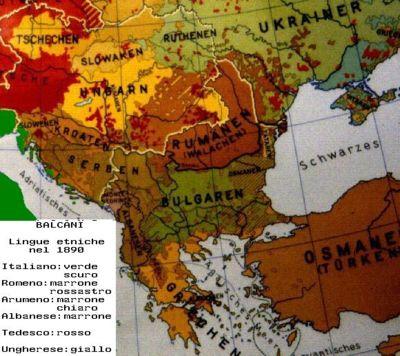 Lingue parlate nei Balcani nel 1890