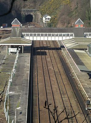 Bangor (Gwynedd) railway station - Image: Bangor Railway station from Bangor Mountain