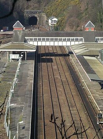 Bangor railway station (Wales) - Image: Bangor Railway station from Bangor Mountain