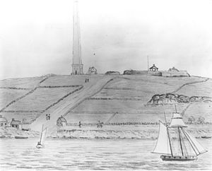 Groton Monument - Groton Monument and Fort Griswold, a sketch by John Warner Barber for his Historical Collections of Connecticut (1836)