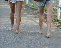 Barefoot on the asphalt.JPG