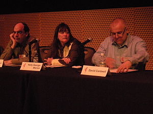 No Depression (magazine) - No Depression senior editors Barry Mazor (left) and David Cantwell; seated between them is Holly George-Warren, author of Public Cowboy No. 1, a biography of Gene Autry.