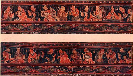 A scene of historic paragons of filial piety conversing with one another, Chinese painted artwork on a lacquered basketwork box, excavated from an Eastern-Han tomb of what was the Chinese Lelang Commandery in modern North Korea Basket from Lo-lang.jpg