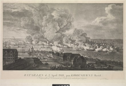 The battle viewed from Copenhagen, around noon, with the Danish floating batteries moored between the attacking British line and the city Bataillen d.2 April 1801, paa Kiobenhavns Reed (Battle of 2 April 1801 in Copenhagen Roads) RMG PY7975.tiff
